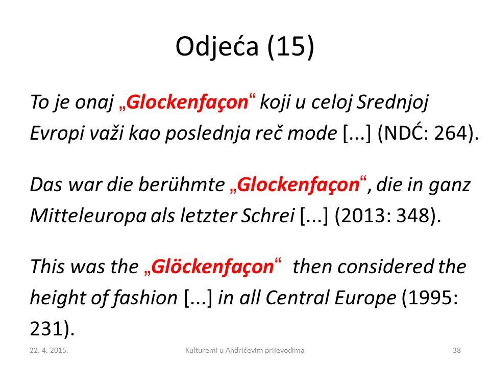 """Odjeća (15) To je onaj """" Glockenfaçon koji u celoj Srednjoj Evropi važi kao poslednja reč mode [...] (NDĆ: 264)."""