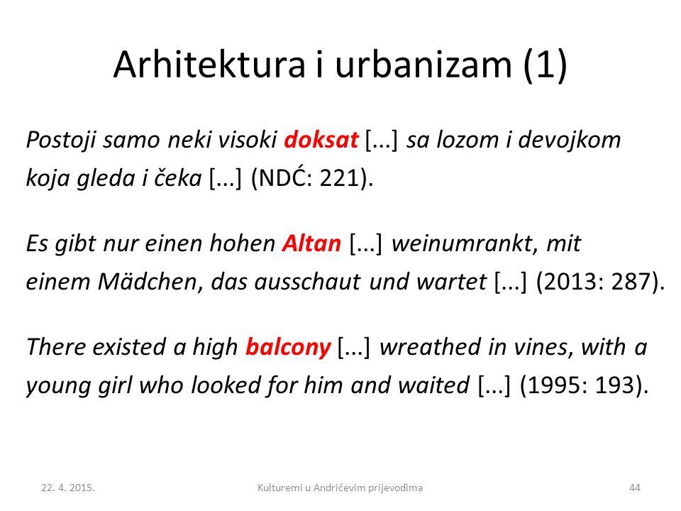 Arhitektura i urbanizam (1) Postoji samo neki visoki doksat [...] sa lozom i devojkom koja gleda i čeka [...] (NDĆ: 221).