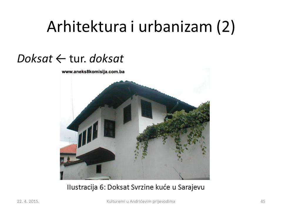 Arhitektura i urbanizam (2) Doksat ← tur. doksat 22. 4. 2015.Kulturemi u Andrićevim prijevodima45 IIustracija 6: Doksat Svrzine kuće u Sarajevu
