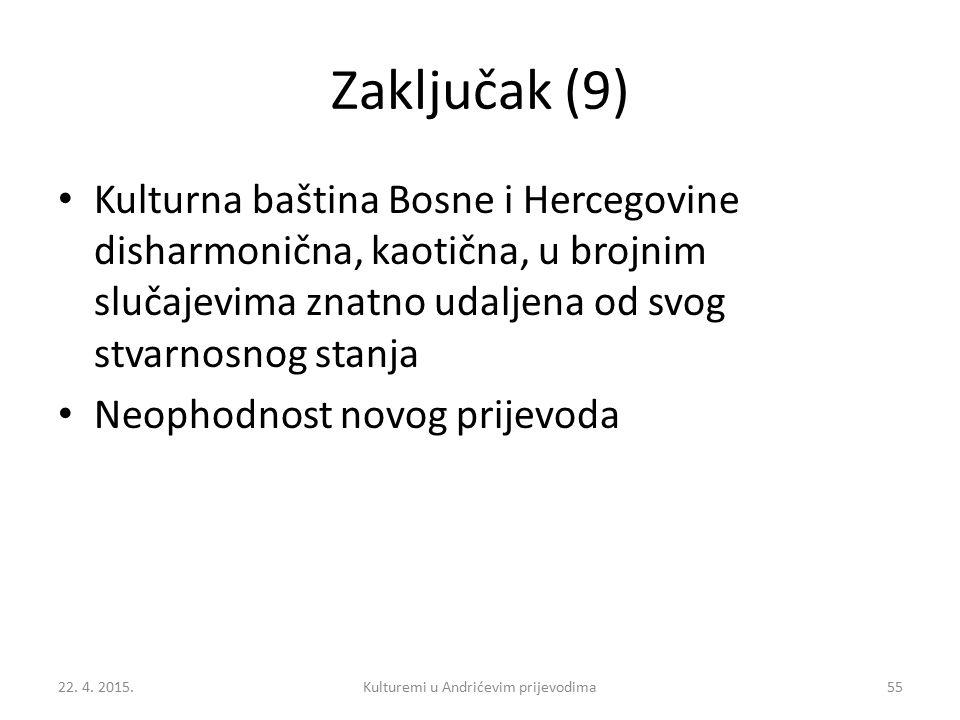 Zaključak (9) Kulturna baština Bosne i Hercegovine disharmonična, kaotična, u brojnim slučajevima znatno udaljena od svog stvarnosnog stanja Neophodno