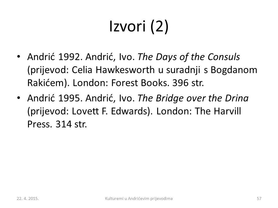 Izvori (2) Andrić 1992.Andrić, Ivo.