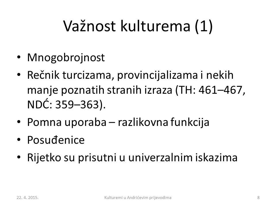 Važnost kulturema (1) Mnogobrojnost Rečnik turcizama, provincijalizama i nekih manje poznatih stranih izraza (TH: 461–467, NDĆ: 359–363). Pomna uporab