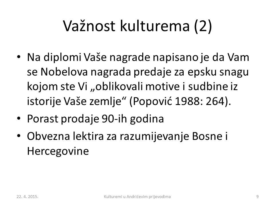 """Važnost kulturema (2) Na diplomi Vaše nagrade napisano je da Vam se Nobelova nagrada predaje za epsku snagu kojom ste Vi """"oblikovali motive i sudbine iz istorije Vaše zemlje (Popović 1988: 264)."""