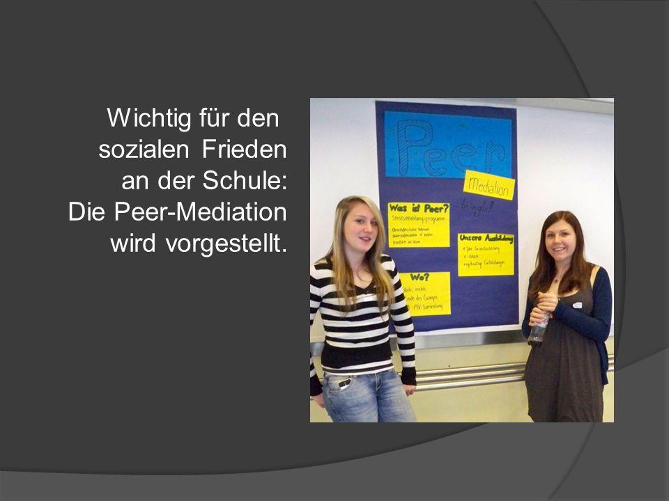 Wichtig für den sozialen Frieden an der Schule: Die Peer-Mediation wird vorgestellt.