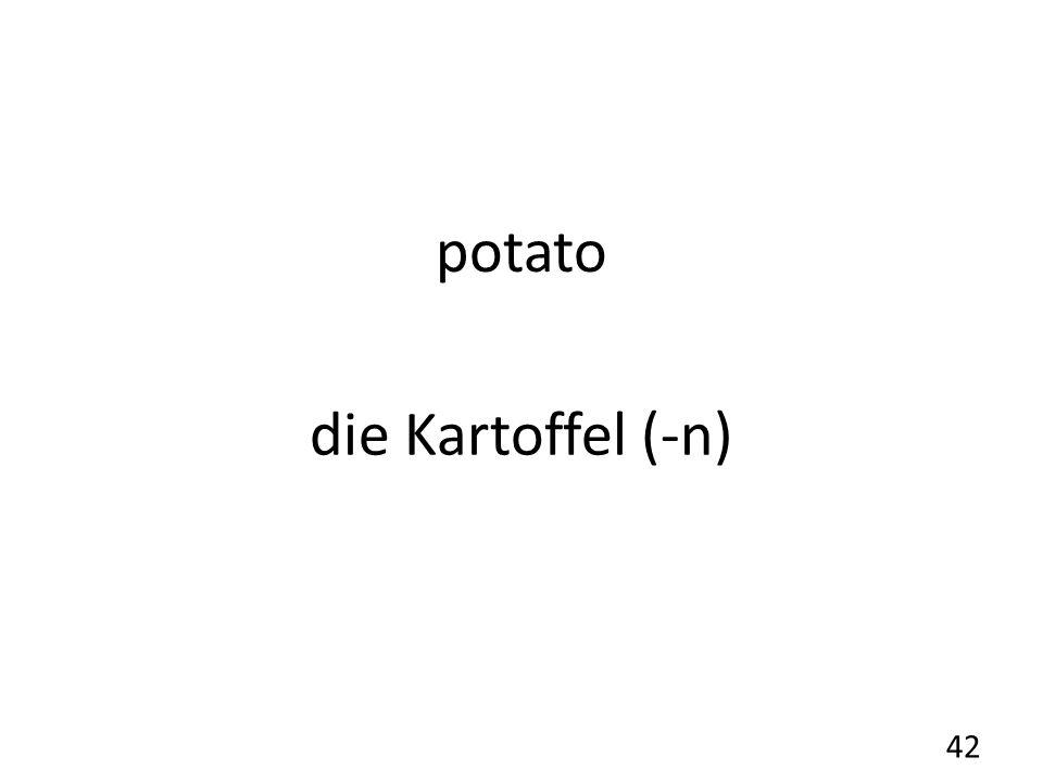 potato die Kartoffel (-n) 42
