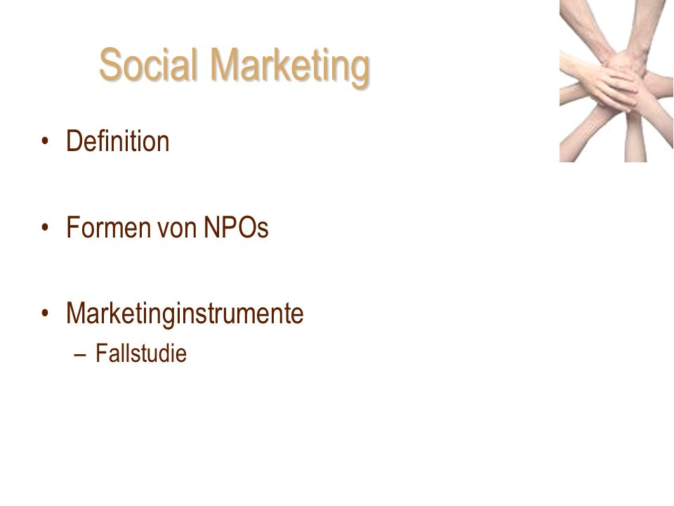 Social Marketing Definition Formen von NPOs Marketinginstrumente –Fallstudie