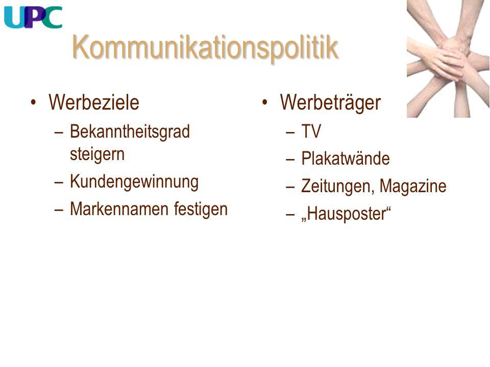 """Kommunikationspolitik Werbeträger –TV –Plakatwände –Zeitungen, Magazine –""""Hausposter"""" Werbeziele –Bekanntheitsgrad steigern –Kundengewinnung –Markenna"""