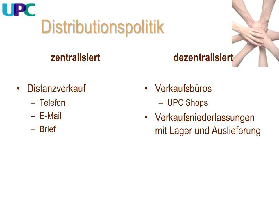 Distributionspolitik zentralisiert Distanzverkauf –Telefon –E-Mail –Brief dezentralisiert Verkaufsbüros –UPC Shops Verkaufsniederlassungen mit Lager u
