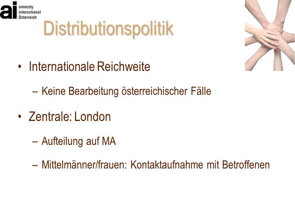 Distributionspolitik Internationale Reichweite –Keine Bearbeitung österreichischer Fälle Zentrale: London –Aufteilung auf MA –Mittelmänner/frauen: Kon