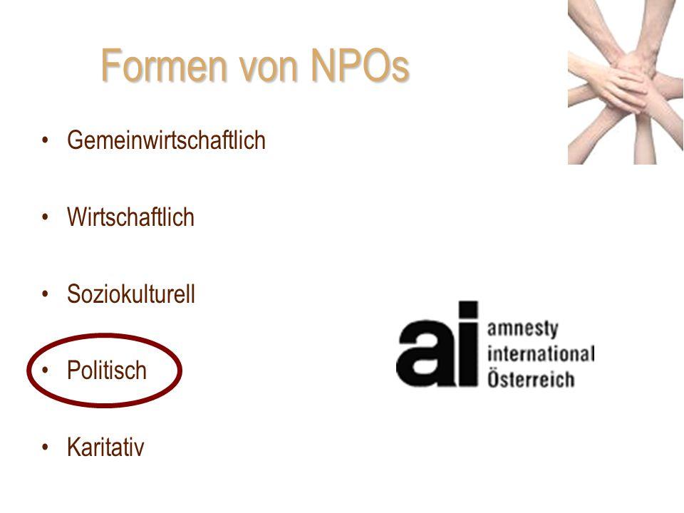 Formen von NPOs Gemeinwirtschaftlich Wirtschaftlich Soziokulturell Politisch Karitativ