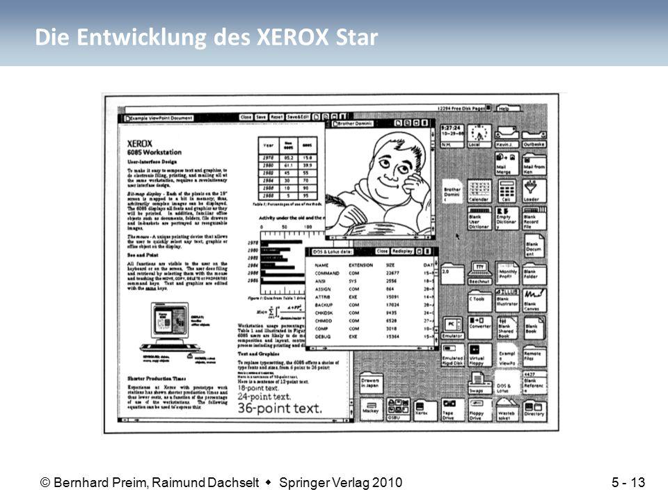 © Bernhard Preim, Raimund Dachselt  Springer Verlag 2010 Die Entwicklung des XEROX Star 5 - 13