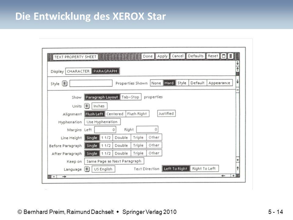© Bernhard Preim, Raimund Dachselt  Springer Verlag 2010 Die Entwicklung des XEROX Star 5 - 14