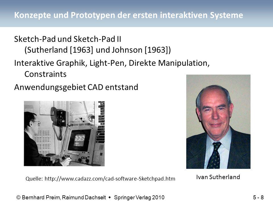 © Bernhard Preim, Raimund Dachselt  Springer Verlag 2010 Konzepte und Prototypen der ersten interaktiven Systeme Sketch-Pad und Sketch-Pad II (Suther