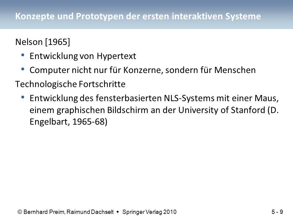 © Bernhard Preim, Raimund Dachselt  Springer Verlag 2010 Konzepte und Prototypen der ersten interaktiven Systeme Nelson [1965] Entwicklung von Hypert