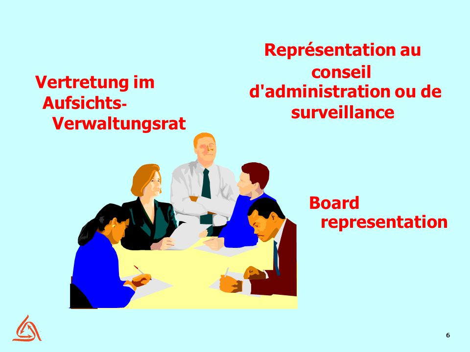 6 Représentation au conseil d'administration ou de surveillance Vertretung im Aufsichts - Verwaltungsrat representation Board Board Represe ntation 1