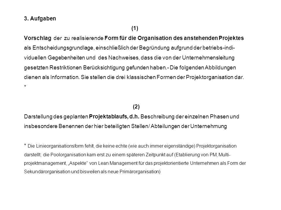 1. 3. Aufgaben 3. Aufgaben (1) Vorschlag der zu realisierende Form für die Organisation des anstehenden Projektes als Entscheidungsgrundlage, einschli