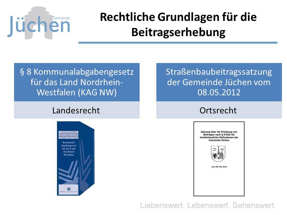 § 8 Kommunalabgabengesetz für das Land Nordrhein- Westfalen (KAG NW) Landesrecht Straßenbaubeitragssatzung der Gemeinde Jüchen vom 08.05.2012 Ortsrech