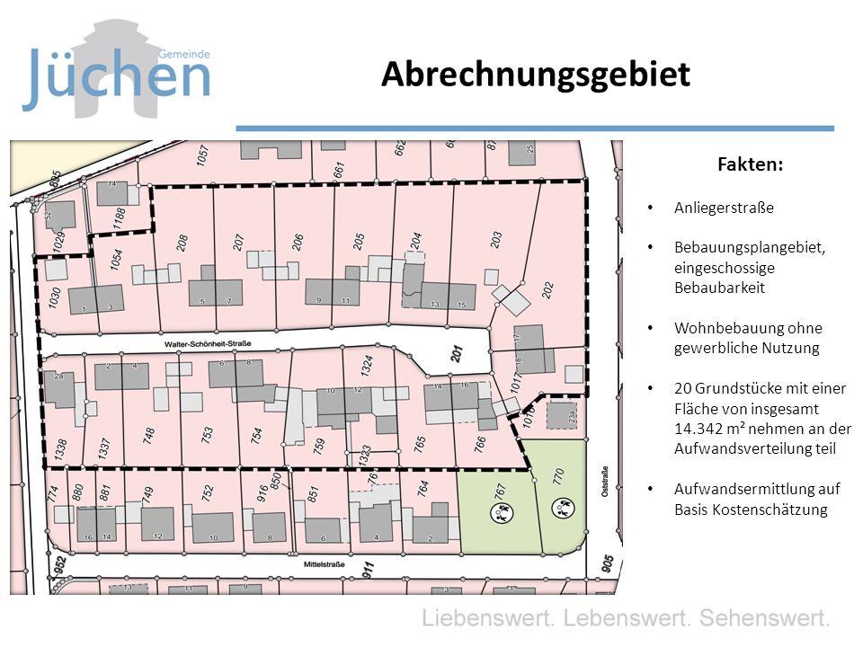 Abrechnungsgebiet Fakten: Anliegerstraße Bebauungsplangebiet, eingeschossige Bebaubarkeit Wohnbebauung ohne gewerbliche Nutzung 20 Grundstücke mit einer Fläche von insgesamt 14.342 m² nehmen an der Aufwandsverteilung teil Aufwandsermittlung auf Basis Kostenschätzung