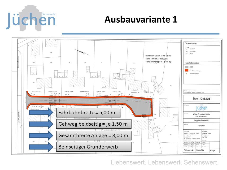 Ausbauvariante 1 Fahrbahnbreite = 5,00 m Gehweg beidseitig = je 1,50 m Gesamtbreite Anlage = 8,00 m Beidseitiger Grunderwerb