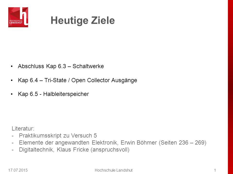 Heutige Ziele 17.07.20151Hochschule Landshut Abschluss Kap 6.3 – Schaltwerke Kap 6.4 – Tri-State / Open Collector Ausgänge Kap 6.5 - Halbleiterspeiche