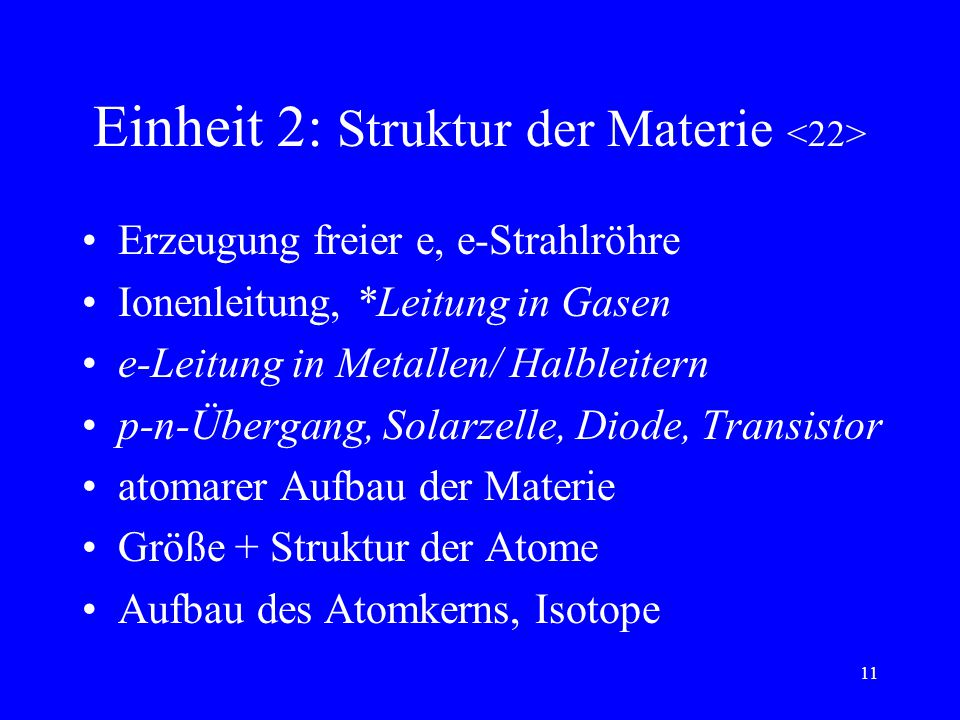 10 Einheit 1: E-Lehre 2 F zwischen el. Ladungen, *E-Feld Neutralisation, Influenz U, W, P Zusammenhang: I, U => R Reihen-/Parallelschaltung von R F au