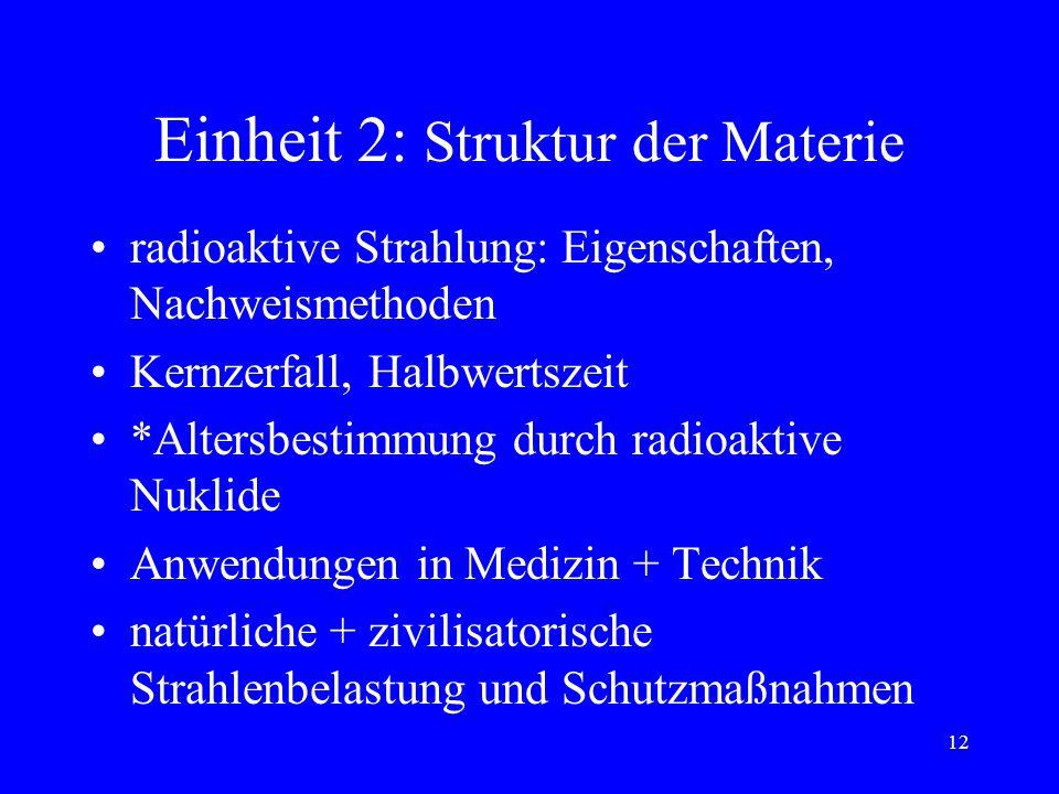 11 Einheit 2: Struktur der Materie Erzeugung freier e, e-Strahlröhre Ionenleitung, *Leitung in Gasen e-Leitung in Metallen/ Halbleitern p-n-Übergang,