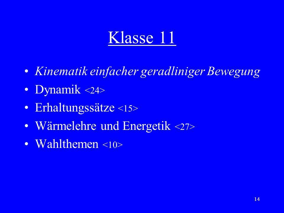 13 Einheit 3: Kinematik einfacher geradliniger Bewegungen Bewegungsabläufe, Darstellung in Schaubildern mittlere / momentane Geschwindigkeit Beschleun