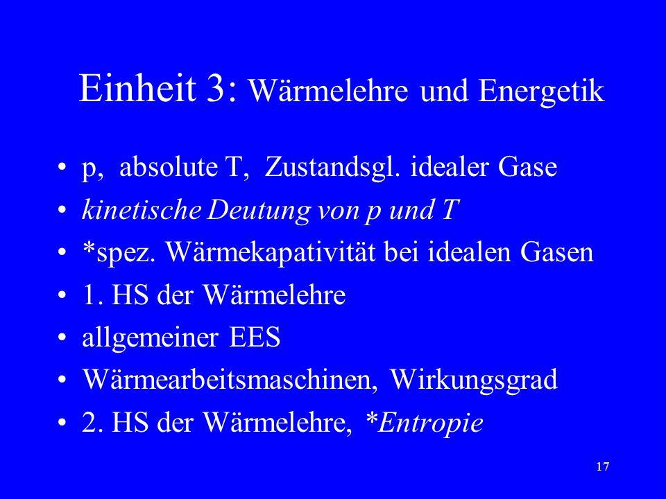 16 Einheit 2: Erhaltungssätze Energie(E) + Arbeit(W): W bei F=const und beim linearen Weg- Kraft-Gesetz, E-Formen, EES, E-bilanzen Durchschnitts- und