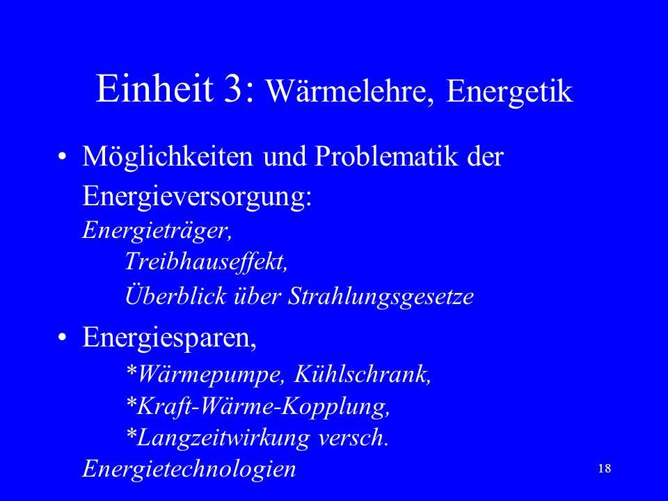 17 Einheit 3: Wärmelehre und Energetik p, absolute T, Zustandsgl. idealer Gase kinetische Deutung von p und T *spez. Wärmekapativität bei idealen Gase