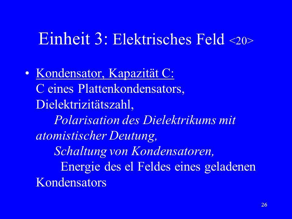 25 Einheit 3: el Feld Elektrisches Feld: el. Feldstärke, W in hom Feldern, U, Potential, Zusammenhang: felderzeugende Ladung + + el Feldstärke im hom