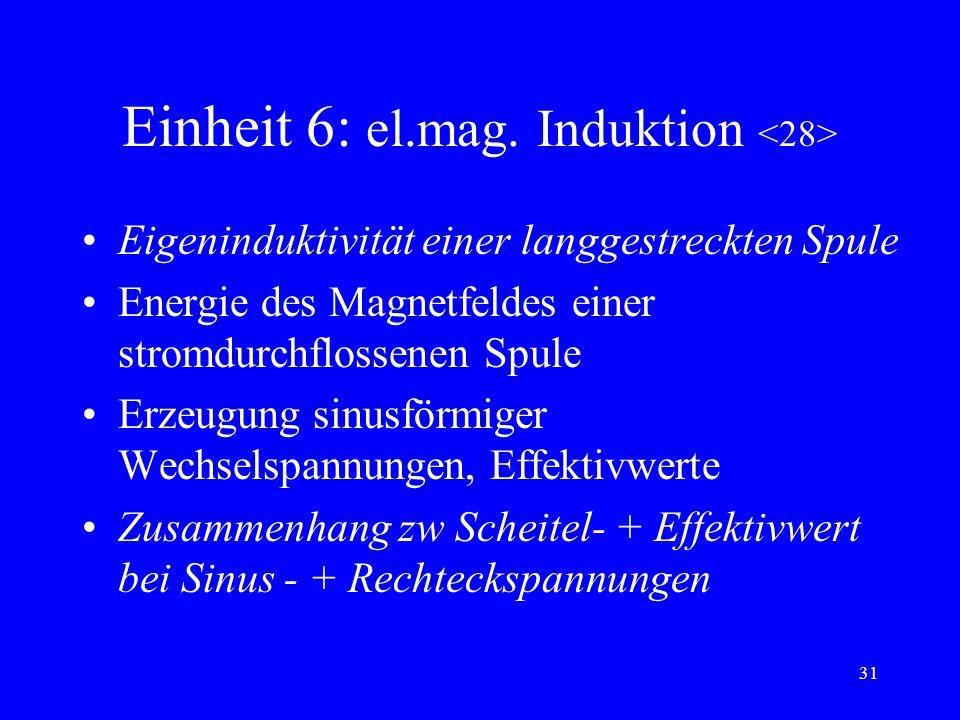 30 Einheit 6: el.mag. Induktion Induktion bei Bewegung eines Leiters im B- Feld Induktion bei zeitl Änderung der Flußdichte Induktionsgesetz Lenzsches