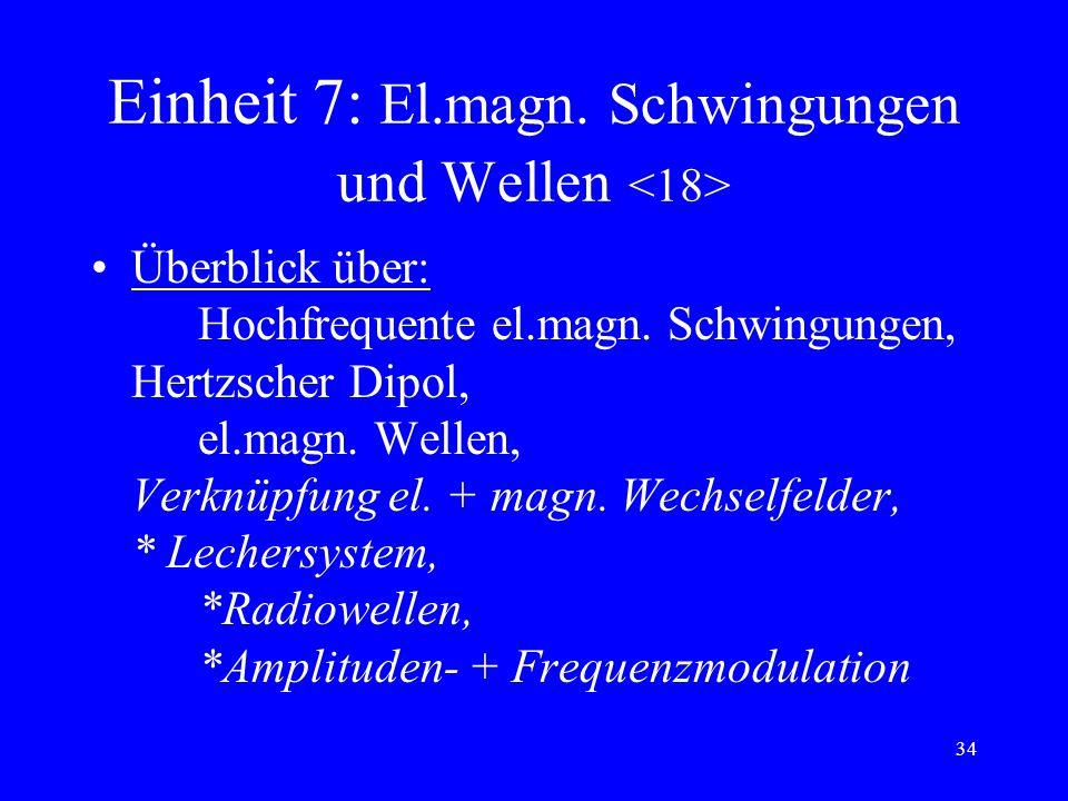 33 Einheit 7: El.magn. Schwingungen und Wellen el.magn. Schwingkreis: DGL, Periodendauer, Gesetze für den zeitl. Verlauf von I und U *gedämpfte el.mag