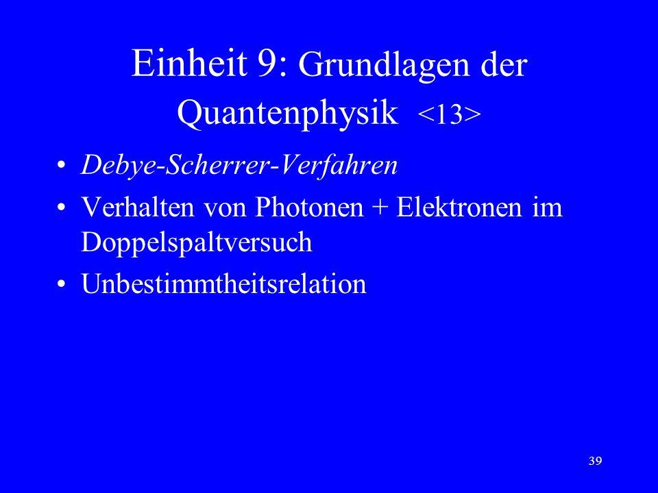 38 Einheit 9: Grundlagen der Quantenphysik Photoeffekt, Photozelle Plancksches Wirkungsquantum Photonen (Lichtquanten) Comptoneffekt Grenzenergie der
