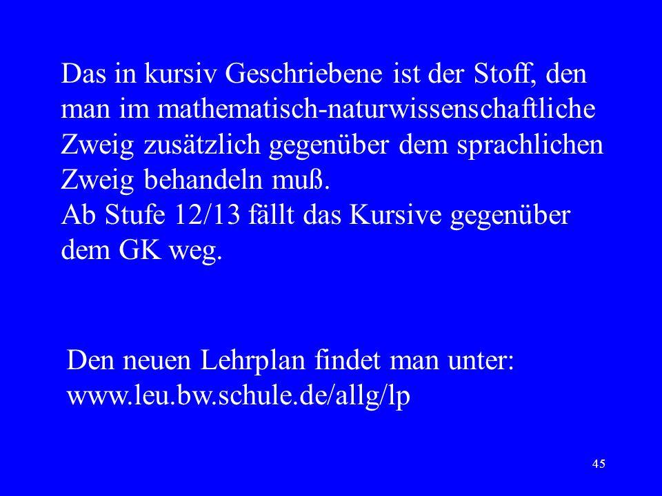 44 Einheit 12: Wahlthemen Weiterführung des Praktikums Festkörperphysik, Halbleiter Physik der Atmosphäre Relativitätstheorie Astrophysik Elementartei