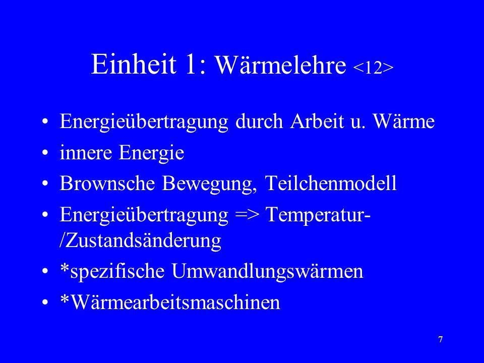 7 Einheit 1: Wärmelehre Energieübertragung durch Arbeit u.