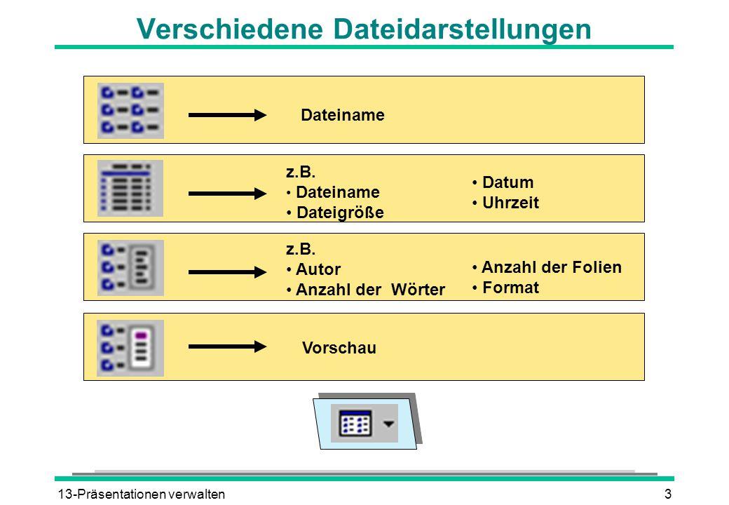 13-Präsentationen verwalten3 Verschiedene Dateidarstellungen z.B. Dateiname Dateigröße Datum Uhrzeit Dateiname z.B. Autor Anzahl der Wörter Anzahl der