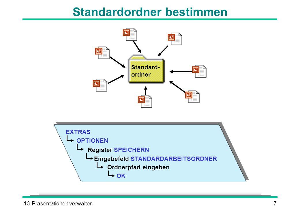13-Präsentationen verwalten7 Standardordner bestimmen EXTRAS OPTIONEN Register SPEICHERN Eingabefeld STANDARDARBEITSORDNER Ordnerpfad eingeben OK Stan