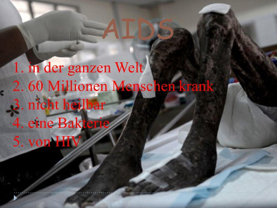 AIDS 1. in der ganzen Welt 2. 60 Millionen Menschen krank 3. nicht heilbar 4. eine Bakterie 5. von HIV