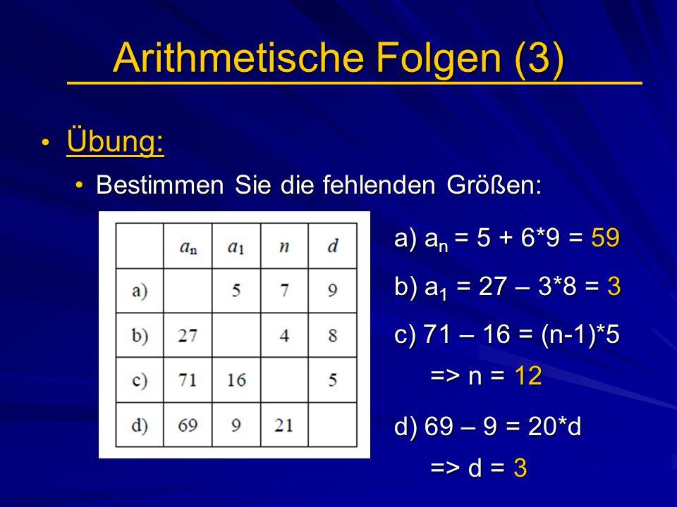 Arithmetische Folgen (3) Übung: Übung: Bestimmen Sie die fehlenden Größen:Bestimmen Sie die fehlenden Größen: a) a n = 5 + 6*9 = 59 a) a n = 5 + 6*9 =