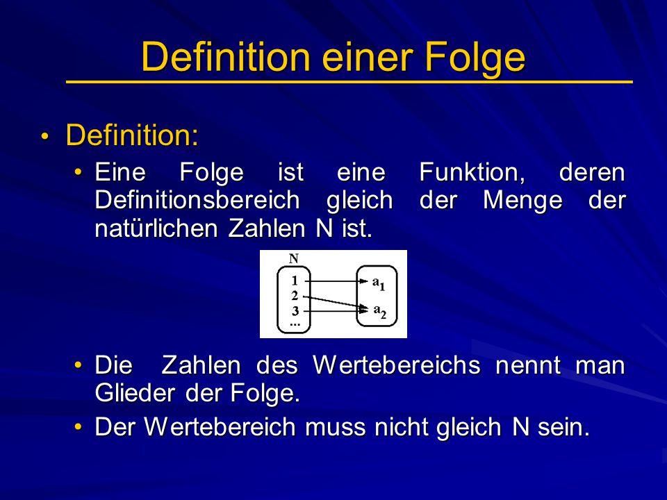 Definition einer Folge Definition: Definition: Eine Folge ist eine Funktion, deren Definitionsbereich gleich der Menge der natürlichen Zahlen N ist.Ei