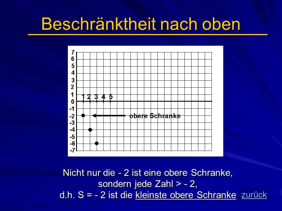 Beschränktheit nach oben Nicht nur die - 2 ist eine obere Schranke, sondern jede Zahl > - 2, d.h. S = - 2 ist die kleinste obere Schranke zurück