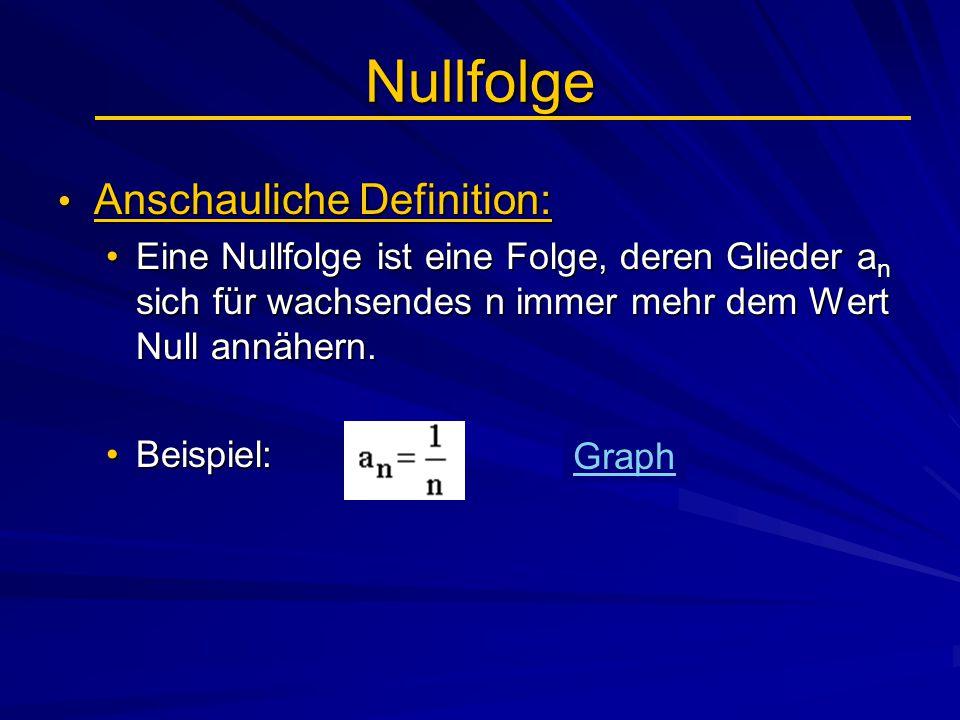 Nullfolge Anschauliche Definition: Anschauliche Definition: Eine Nullfolge ist eine Folge, deren Glieder a n sich für wachsendes n immer mehr dem Wert