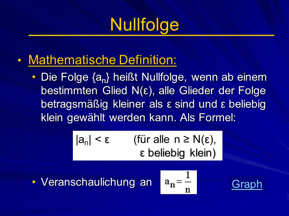 Nullfolge Mathematische Definition: Mathematische Definition: Die Folge {a n } heißt Nullfolge, wenn ab einem bestimmten Glied N(ε), alle Glieder der