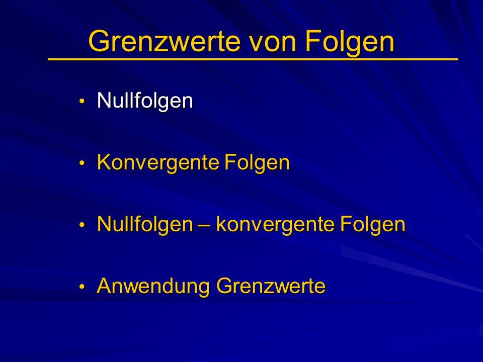 Grenzwerte von Folgen Nullfolgen Nullfolgen Konvergente Folgen Konvergente Folgen Nullfolgen – konvergente Folgen Nullfolgen – konvergente Folgen Anwe