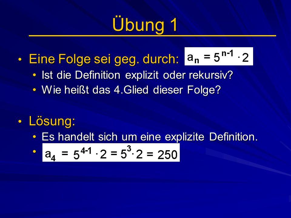 Geometrische Folgen (3) Übung 1: Übung 1: Bestimmen Sie die fehlenden Größen:Bestimmen Sie die fehlenden Größen: a) a n = 3*2 3 = 24 a) a n = 3*2 3 = 24 b) a 1 = 567 / 3 4 = 7 b) a 1 = 567 / 3 4 = 7 c) 245 = 5 * 7 n-1 c) 245 = 5 * 7 n-1 => n = 3 => n = 3 d) 3,125 = 100 * q 5 d) 3,125 = 100 * q 5 => q = => q =