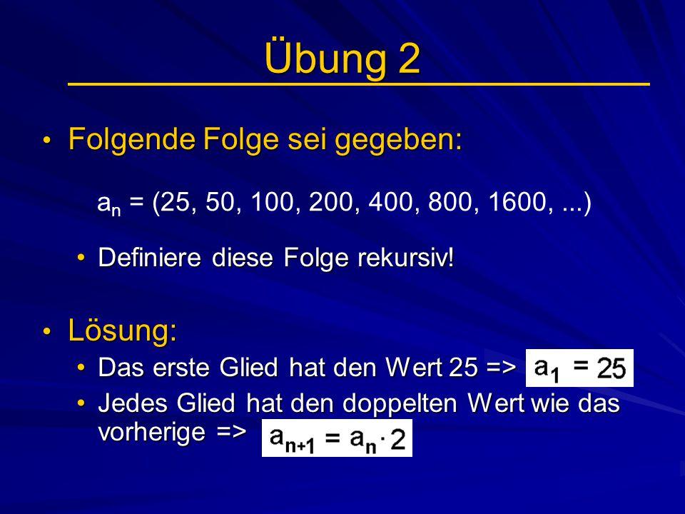 Beispiele Beschränktheit (1) Bsp.: Folge a n nach unten beschränkt:Bsp.: Folge a n nach unten beschränkt: Die Folge a n = 2n mit 2, 4, 6, 8, 10,… ist streng monoton steigend und beginnt mit 2 => es gibt kein Folgenglied es gibt kein Folgenglied < 2 => s = 2 nennt man die untere Schranke von a n Bsp.: Folge a n nach oben beschränkt:Bsp.: Folge a n nach oben beschränkt: Die Folge a n = - 2n mit - 2, - 4, - 6, - 8, - 10,… Die Folge a n = - 2n mit - 2, - 4, - 6, - 8, - 10,… ist streng monoton fallend und beginnt mit - 2 ist streng monoton fallend und beginnt mit - 2 => es gibt kein Folgenglied > - 2 => es gibt kein Folgenglied > - 2 => S = - 2 nennt man die obere Schranke von a n => S = - 2 nennt man die obere Schranke von a n Graph