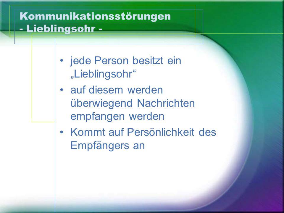 """Kommunikationsstörungen - Lieblingsohr - jede Person besitzt ein """"Lieblingsohr"""" auf diesem werden überwiegend Nachrichten empfangen werden Kommt auf P"""