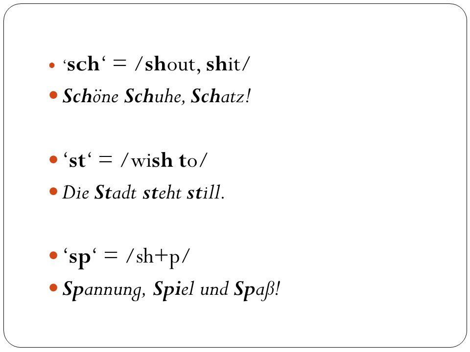 ' sch' = /shout, shit/ Schöne Schuhe, Schatz. 'st' = /wish to/ Die Stadt steht still.