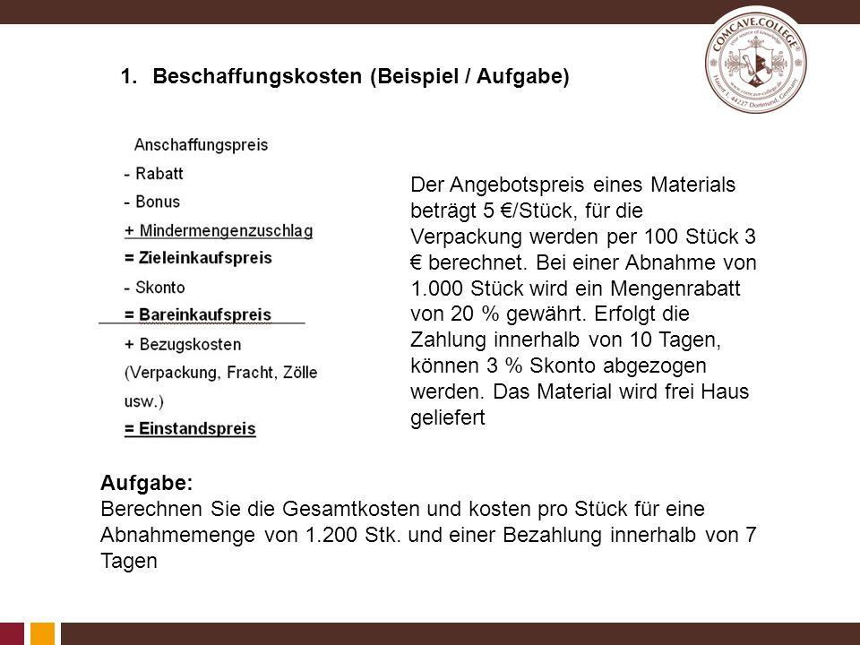 1.Beschaffungskosten (Lösung) Dies entspricht 3,91€ / Stk.
