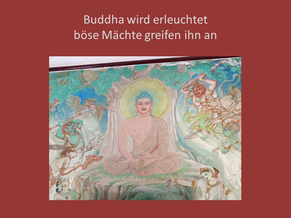 Buddha wird erleuchtet böse Mächte greifen ihn an
